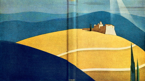 a blue and yellow cover with a house