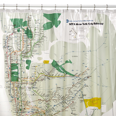 new york city map on a shower curtain