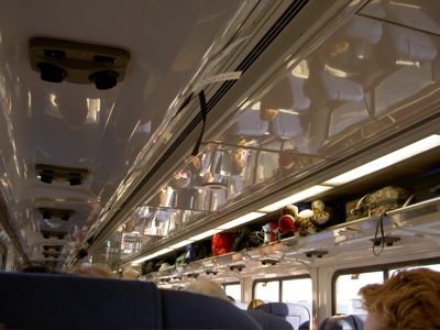 inside the train, looking forward