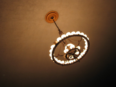 An elegant light fixture in the Wilshire Ebell.