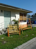 yellow and orange lawn furniture