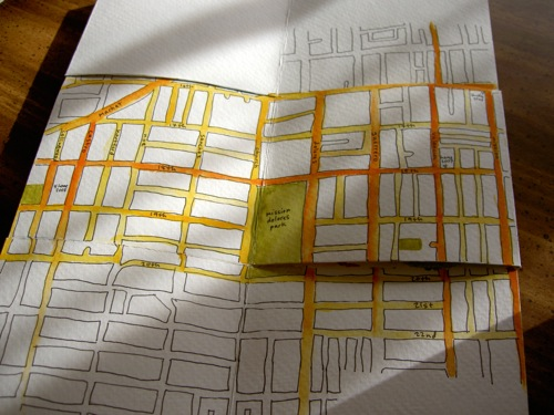 the second spread of the map book, showing the castro and the mission
