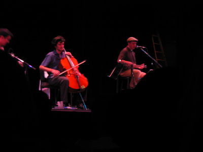 The right-hand half of the Magnetic Fields: guitarist/banjoist, cellist, and Stephin Merritt.