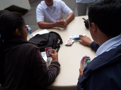 some people at my school, playing uno.