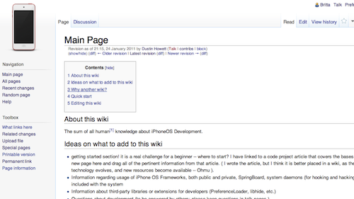 Old screenshot of iPhoneDevWiki
