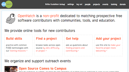 Screenshot of OpenHatch website